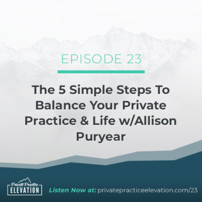 23. The 5 Simple Steps To Balance Your Private Practice & Life with Allison Puryear