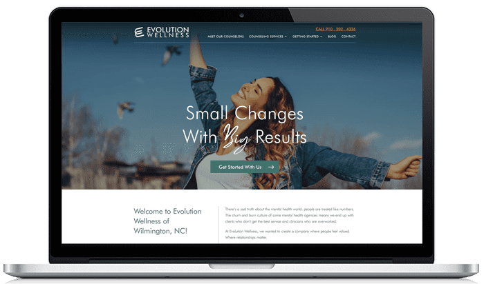Evolution Wellness website before redesign project