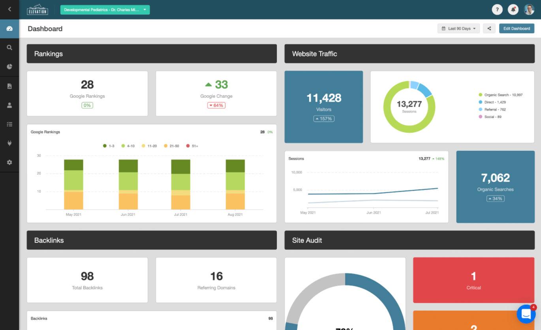 screenshot of an SEO dashboard